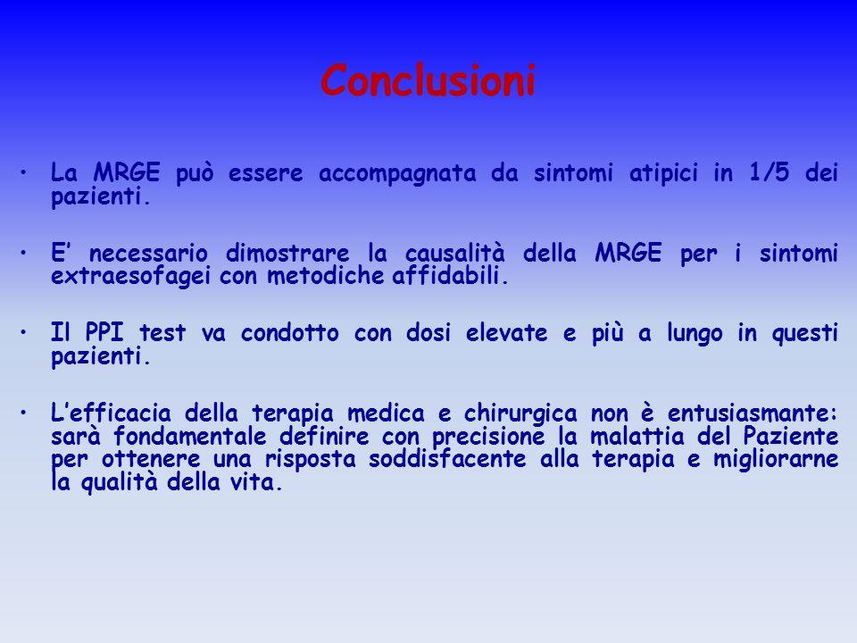 Conclusioni La MRGE può essere accompagnata da sintomi atipici in 1/5 dei pazienti. E necessario dimostrare la causalità della MRGE per i sintomi extr