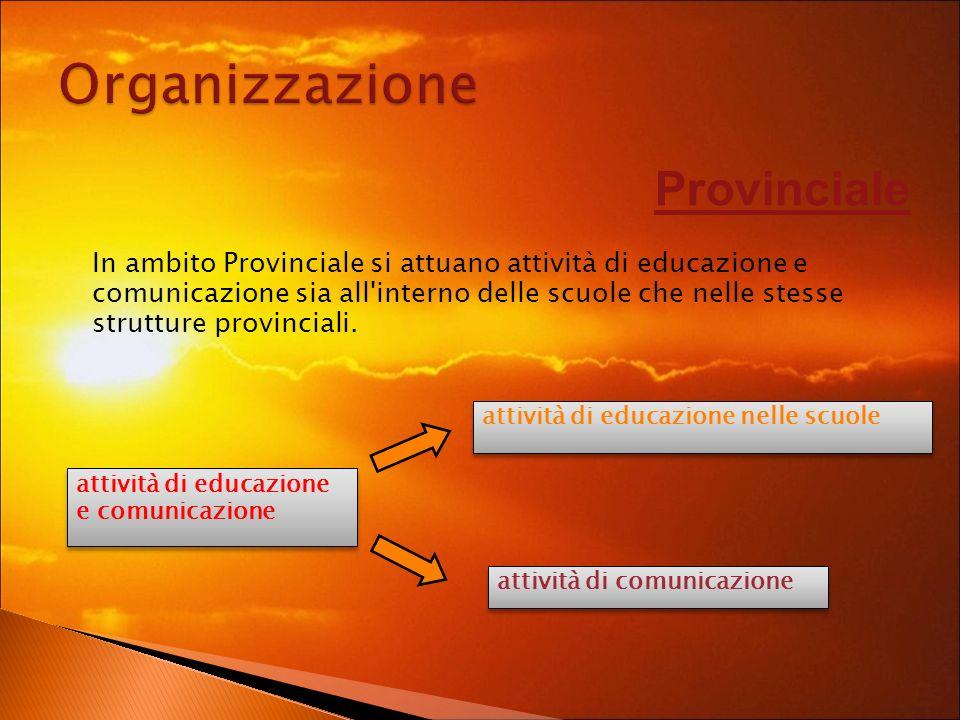 attività di educazione e comunicazione attività di educazione e comunicazione attività di educazione nelle scuole attività di comunicazione Provinciale In ambito Provinciale si attuano attività di educazione e comunicazione sia all interno delle scuole che nelle stesse strutture provinciali.