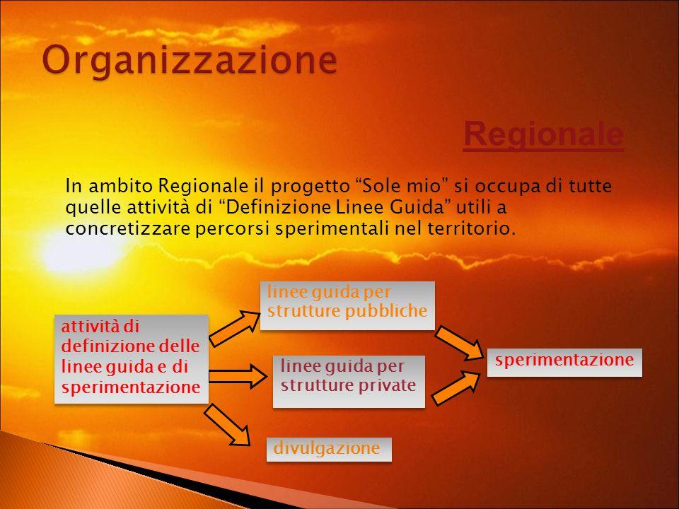 Regionale In ambito Regionale il progetto Sole mio si occupa di tutte quelle attività di Definizione Linee Guida utili a concretizzare percorsi sperimentali nel territorio.