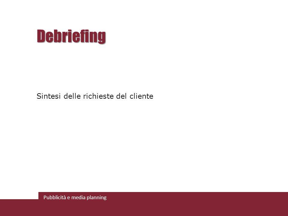 Pubblicità e media planning Debriefing Sintesi delle richieste del cliente