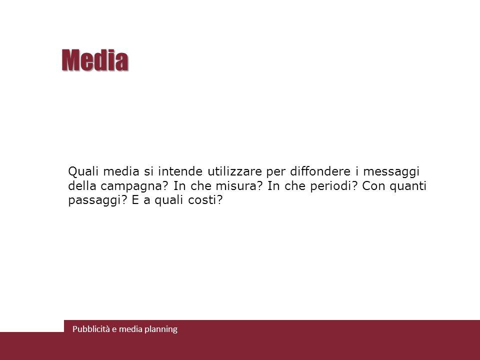 Pubblicità e media planning Media Quali media si intende utilizzare per diffondere i messaggi della campagna.