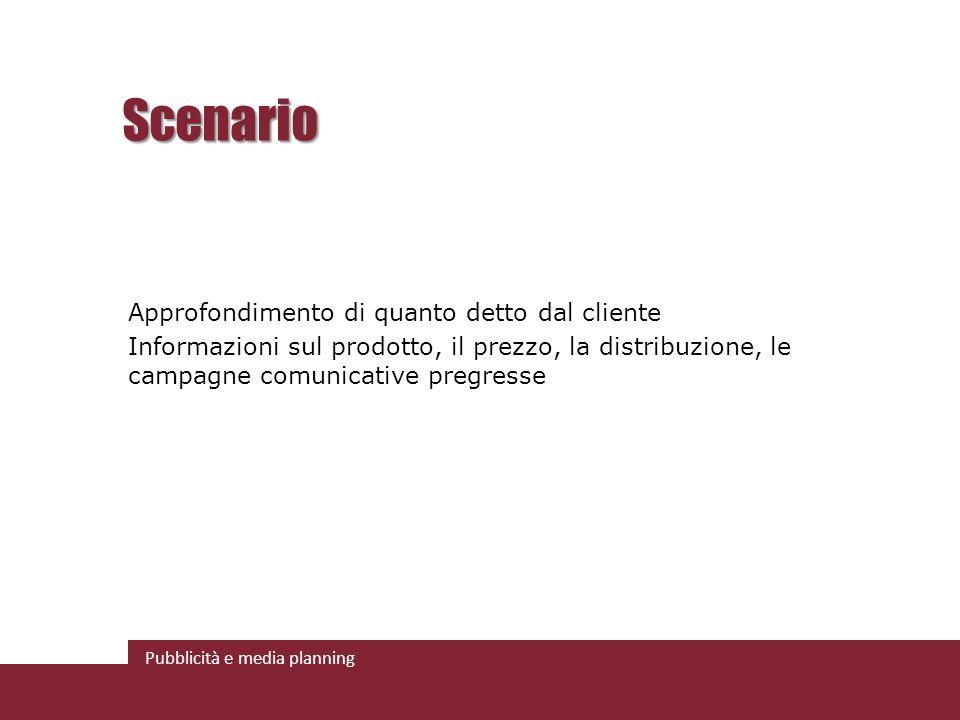Pubblicità e media planning Scenario Approfondimento di quanto detto dal cliente Informazioni sul prodotto, il prezzo, la distribuzione, le campagne comunicative pregresse