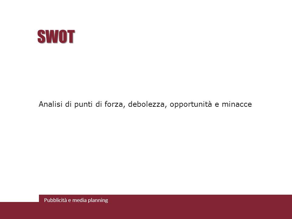 Pubblicità e media planning SWOT Analisi di punti di forza, debolezza, opportunità e minacce