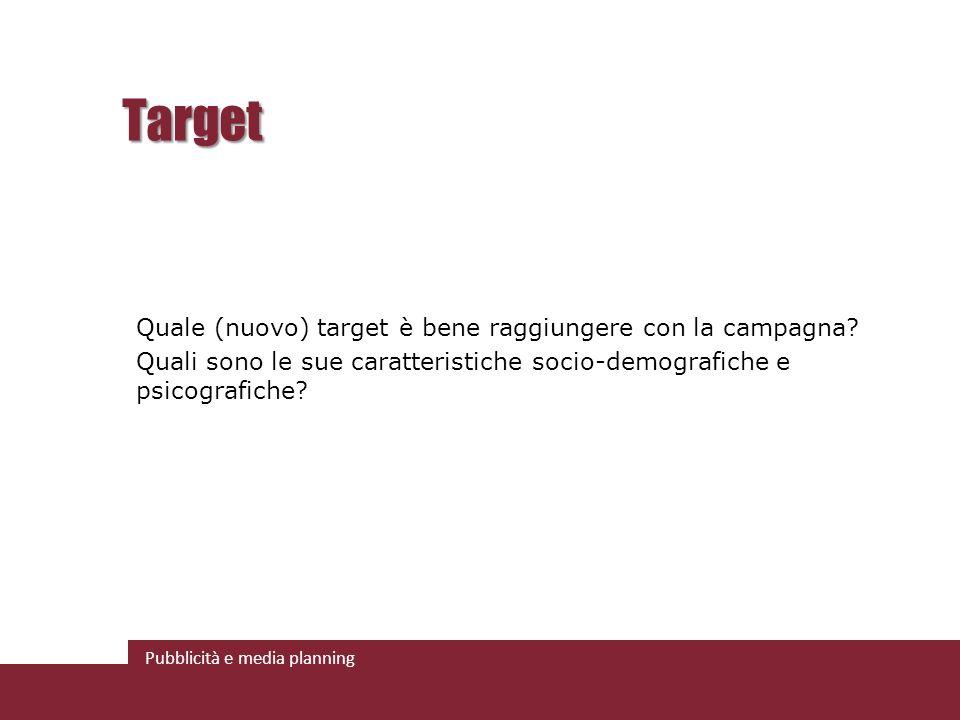 Pubblicità e media planning Target Quale (nuovo) target è bene raggiungere con la campagna.
