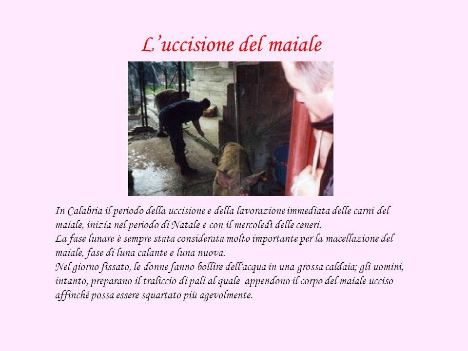 In Calabria il periodo della uccisione e della lavorazione immediata delle carni del maiale, inizia nel periodo di Natale e con il mercoledì delle ceneri.