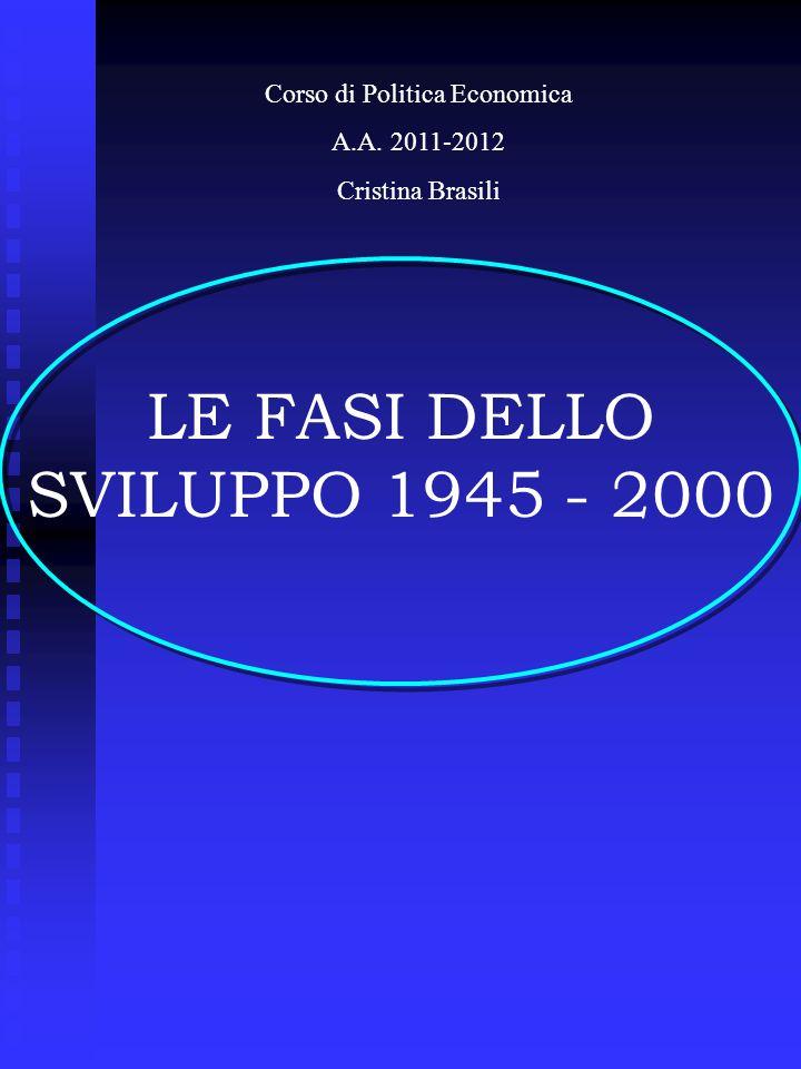 LE FASI DELLO SVILUPPO 1945 - 2000 Corso di Politica Economica A.A. 2011-2012 Cristina Brasili