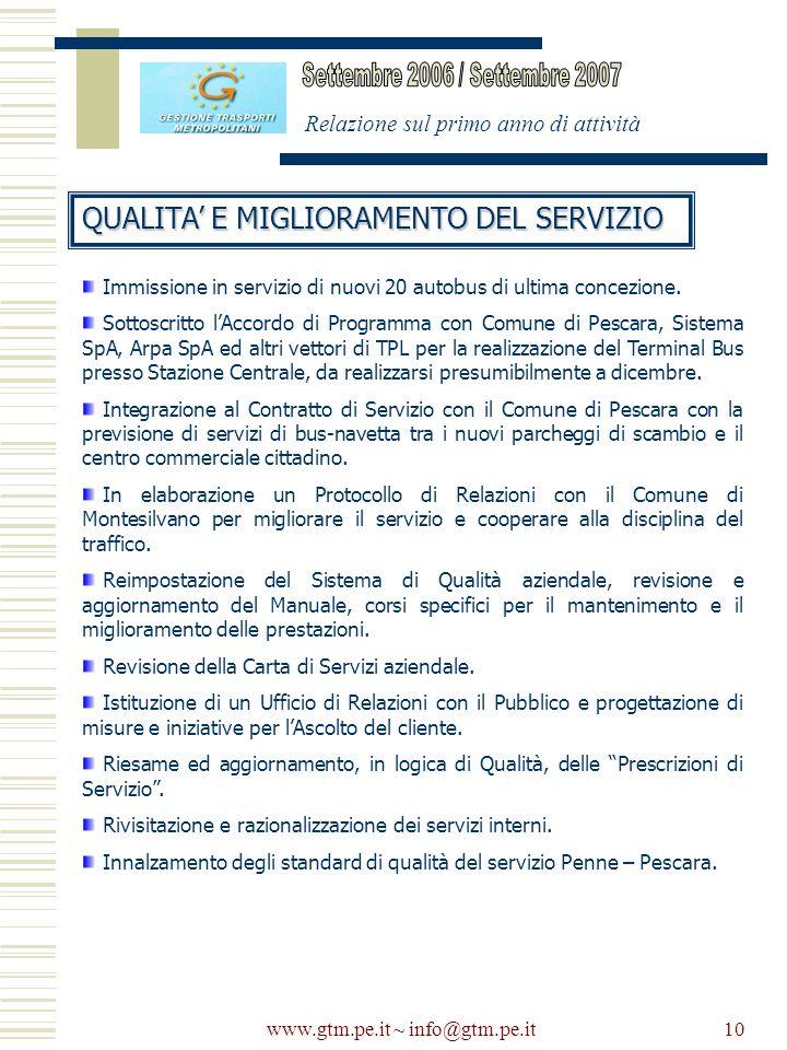www.gtm.pe.it ~ info@gtm.pe.it10 Relazione sul primo anno di attività QUALITA E MIGLIORAMENTO DEL SERVIZIO Immissione in servizio di nuovi 20 autobus