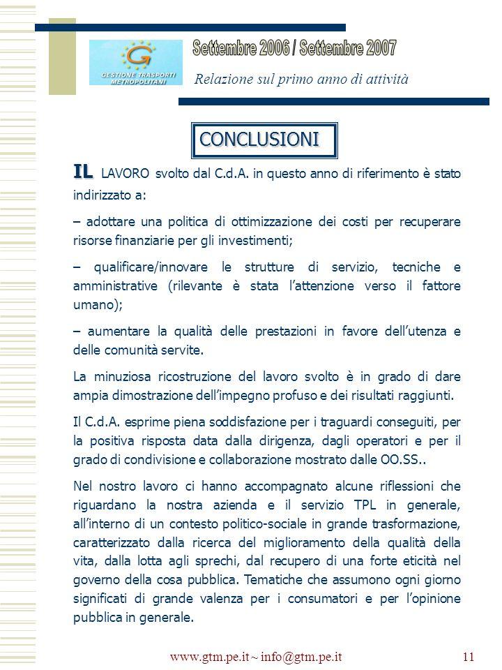 www.gtm.pe.it ~ info@gtm.pe.it11 Relazione sul primo anno di attività CONCLUSIONI IL IL LAVORO svolto dal C.d.A. in questo anno di riferimento è stato