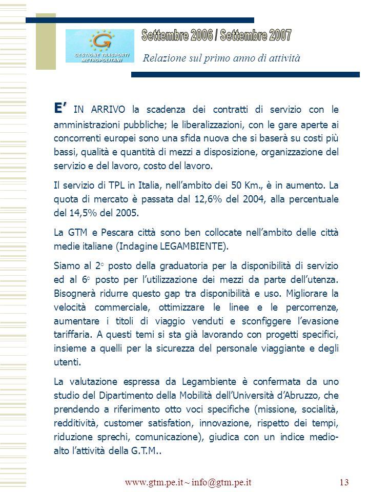 www.gtm.pe.it ~ info@gtm.pe.it13 Relazione sul primo anno di attività E E IN ARRIVO la scadenza dei contratti di servizio con le amministrazioni pubbl