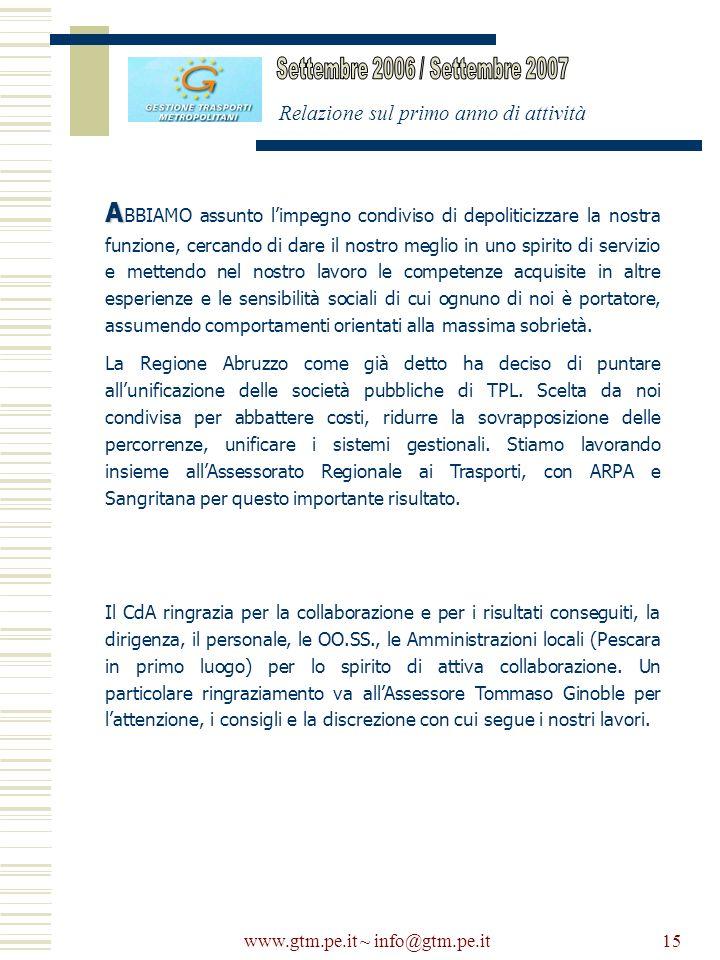 www.gtm.pe.it ~ info@gtm.pe.it15 Relazione sul primo anno di attività A A BBIAMO assunto limpegno condiviso di depoliticizzare la nostra funzione, cer
