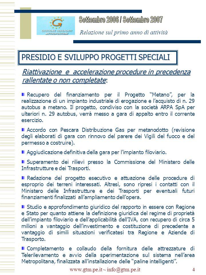 www.gtm.pe.it ~ info@gtm.pe.it4 Relazione sul primo anno di attività PRESIDIO E SVILUPPO PROGETTI SPECIALI Recupero del finanziamento per il Progetto