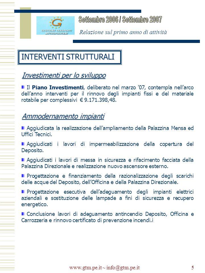 www.gtm.pe.it ~ info@gtm.pe.it5 Relazione sul primo anno di attività INTERVENTI STRUTTURALI Piano Investimenti Il Piano Investimenti, deliberato nel m