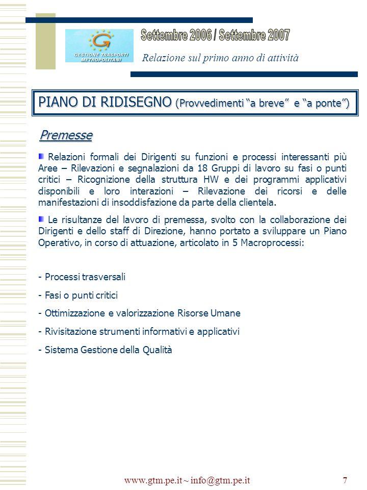 www.gtm.pe.it ~ info@gtm.pe.it7 Relazione sul primo anno di attività PIANO DI RIDISEGNO (Provvedimenti a breve e a ponte) Relazioni formali dei Dirige