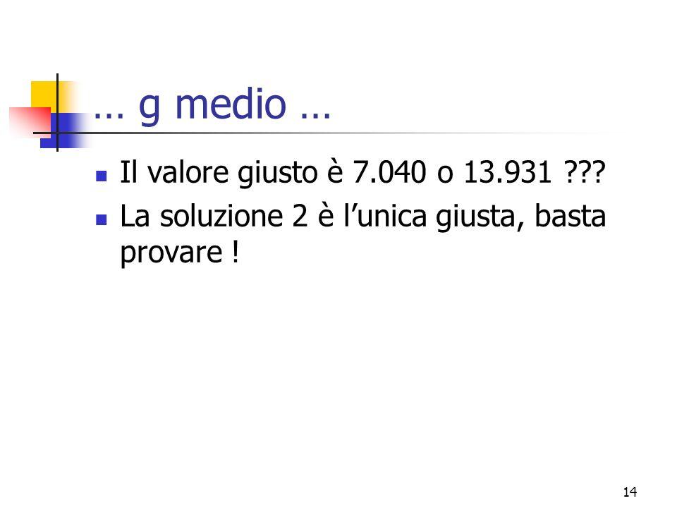 15 … g medio … Tasso di crescitaV1D1 7%4.293321 9%5.940327 14%38.988342 D0(1+g)^2/(k-g)D0(1+g)