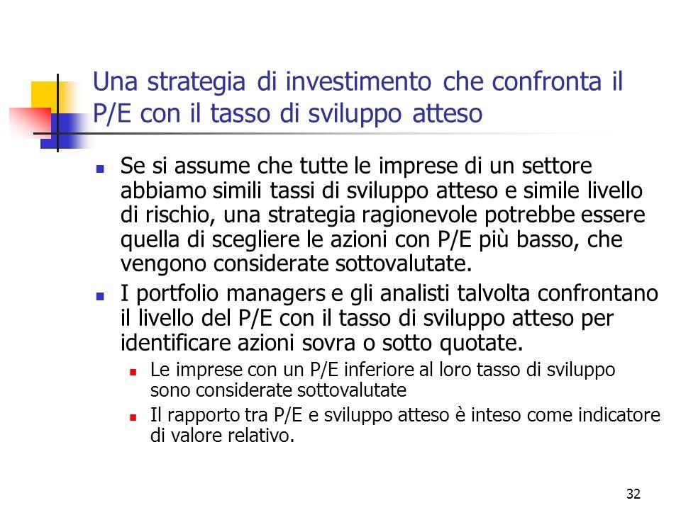 33 Una strategia di investimento che confronta il P/E con il tasso di sviluppo atteso: problemi Nella sua formulazione più semplice, non esistono elementi per credere che una impresa sia sottovalutata solo per il fatto che il P/E sia inferiore al tasso di sviluppo atteso.