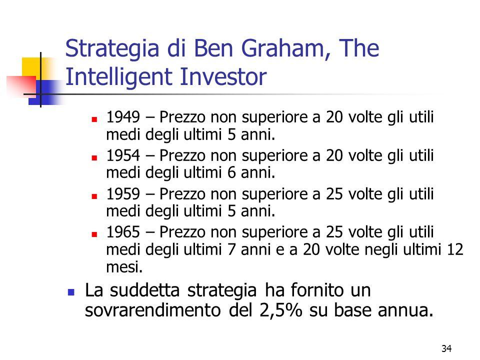 35 Due scuole di investitori La diversa valutazione del P/E definisce due approcci di investimento: Growth Value Se preferisco imprese con alto P/E, scelgo imprese con g elevato (prospettive di crescita del fatturato, dellutile del cash flow) Attenzione alla trappola: un alto livello di crescita degli utili produce un alto P/E, questo induce gli analisti a stimare un livello ancora più elevato di g, e il processo si avvita verso lalto.