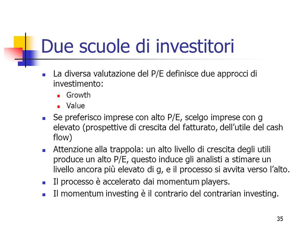 36 Il value investing Un value investor è una persona che sceglie titoli a basso livello di P/E o a basso livello di price/book E un operatore che paga un prezzo che è inferiore rispetto al valore dei beni contenuti nellimpresa che acquista.