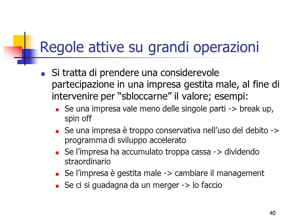 41 Regole attive su grandi operazioni Tante ricerche hanno dimostrato che tutte queste operazioni, di norma, creano valore.