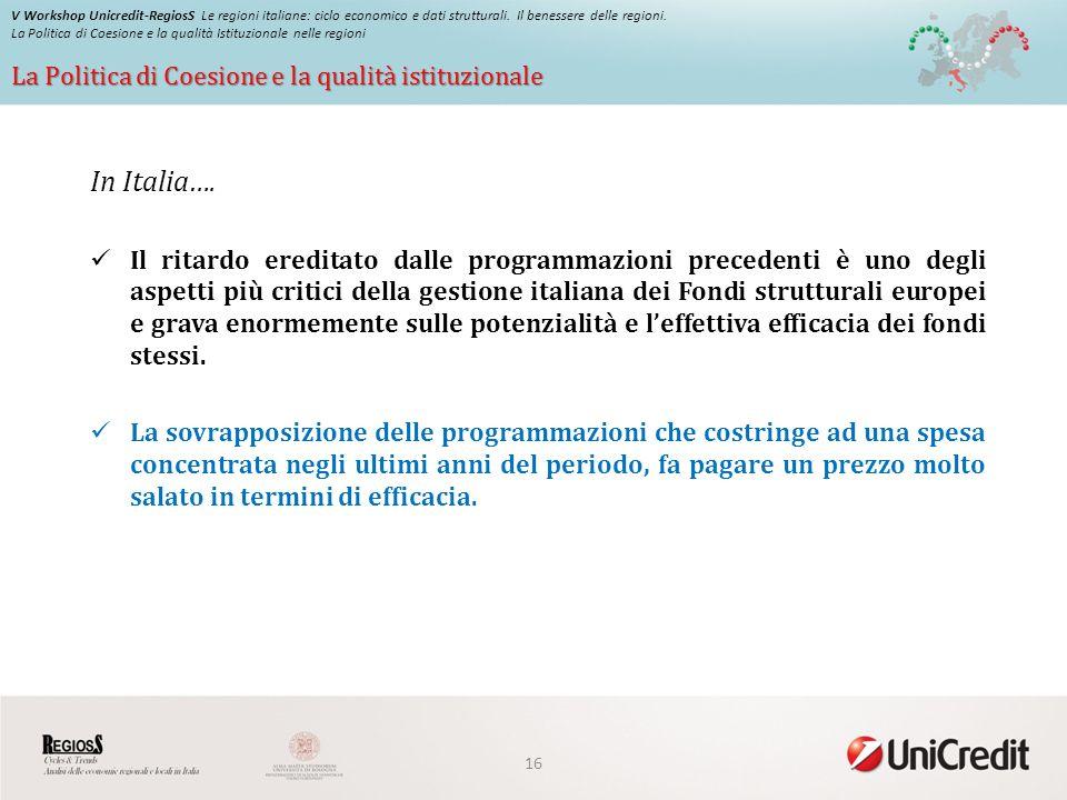 La Politica di Coesione e la qualità istituzionale V Workshop Unicredit-RegiosS Le regioni italiane: ciclo economico e dati strutturali.