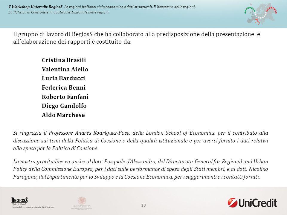 V Workshop Unicredit-RegiosS Le regioni italiane: ciclo economico e dati strutturali.