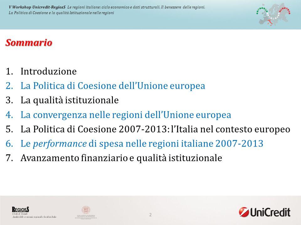 Sommario 1.Introduzione 2.La Politica di Coesione dellUnione europea 3.La qualità istituzionale 4.La convergenza nelle regioni dellUnione europea 5.La Politica di Coesione 2007-2013: lItalia nel contesto europeo 6.Le performance di spesa nelle regioni italiane 2007-2013 7.Avanzamento finanziario e qualità istituzionale 2 V Workshop Unicredit-RegiosS Le regioni italiane: ciclo economico e dati strutturali.