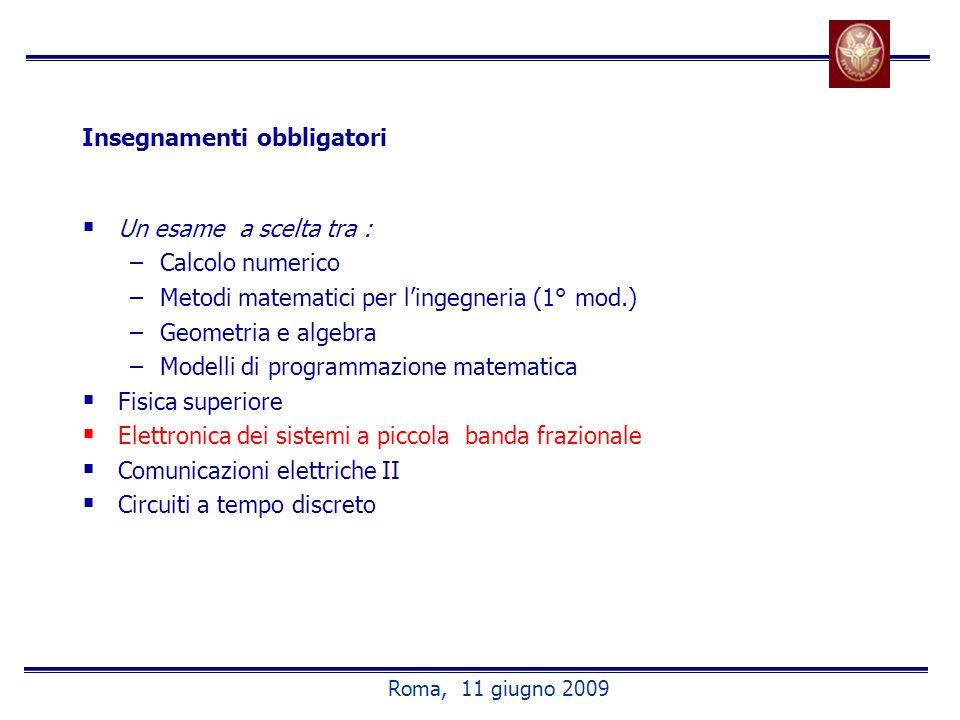 Insegnamenti obbligatori Un esame a scelta tra : –Calcolo numerico –Metodi matematici per lingegneria (1° mod.) –Geometria e algebra –Modelli di progr
