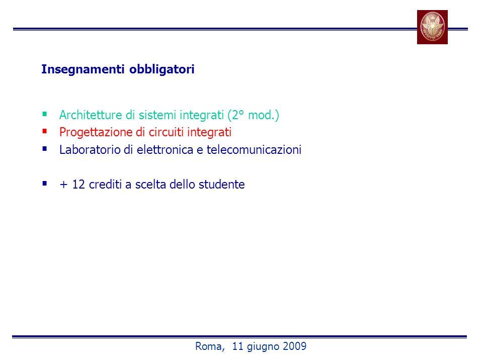 Insegnamenti obbligatori Architetture di sistemi integrati (2° mod.) Progettazione di circuiti integrati Laboratorio di elettronica e telecomunicazioni + 12 crediti a scelta dello studente Roma, 11 giugno 2009