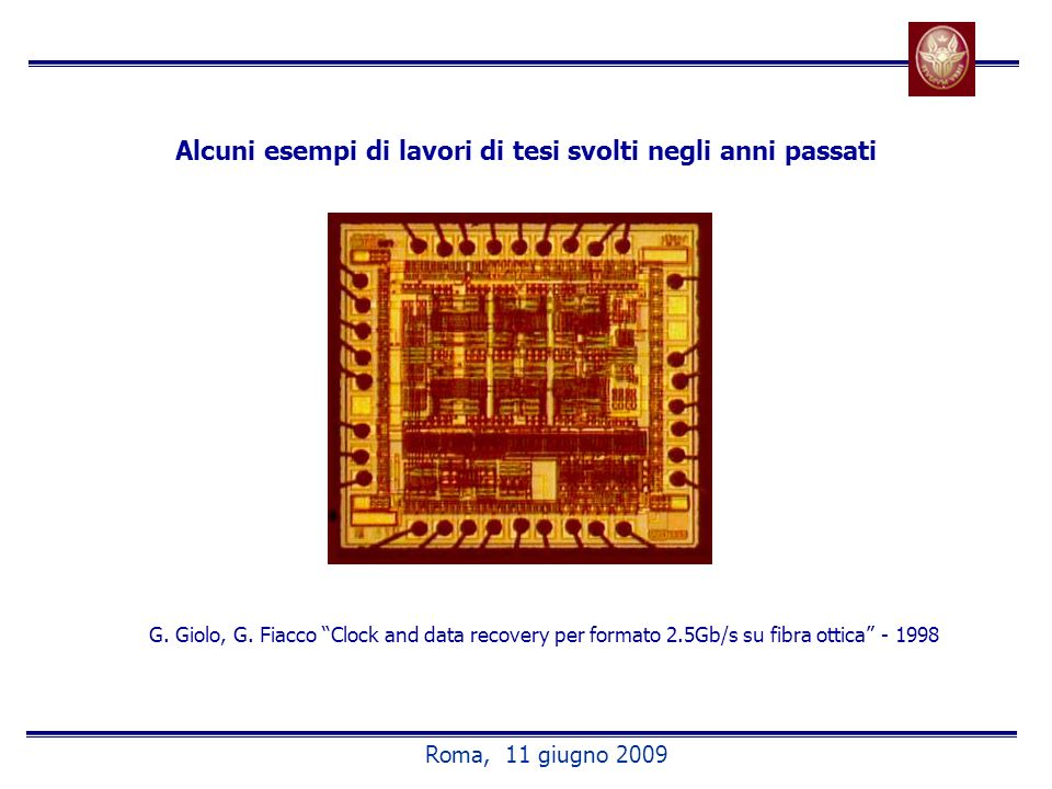 Alcuni esempi di lavori di tesi svolti negli anni passati G. Giolo, G. Fiacco Clock and data recovery per formato 2.5Gb/s su fibra ottica - 1998 Roma,