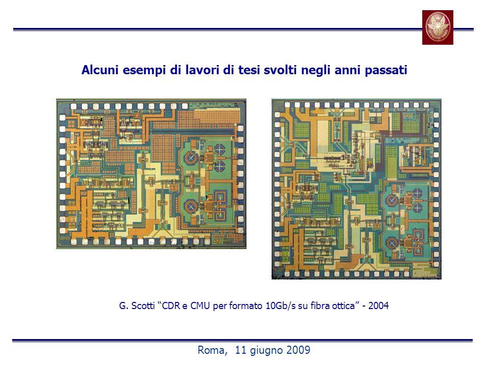 Alcuni esempi di lavori di tesi svolti negli anni passati G. Scotti CDR e CMU per formato 10Gb/s su fibra ottica - 2004 Roma, 11 giugno 2009