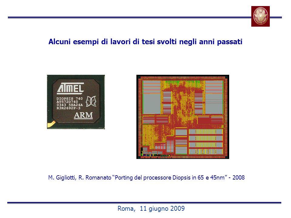 Alcuni esempi di lavori di tesi svolti negli anni passati M. Gigliotti, R. Romanato Porting del processore Diopsis in 65 e 45nm - 2008 Roma, 11 giugno