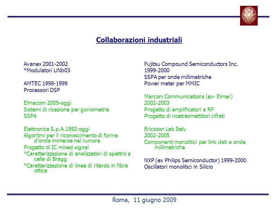 Collaborazioni industriali Avanex 2001-2002 *Modulatori LiNb03 AMTEC 1998-1999 Processori DSP Elmacom 2005-oggi Sistemi di ricezione per goniometria SSPA Elettronica S.p.A.1992-oggi Algoritmi per il riconoscimento di forme donda immerse nel rumore Progetto di IC mixed signal *Caratterizzazione di analizzatori di spettro a cella di Bragg *Caratterizzazione di linee di ritardo in fibra ottica Fujitsu Compound Semiconductors Inc.