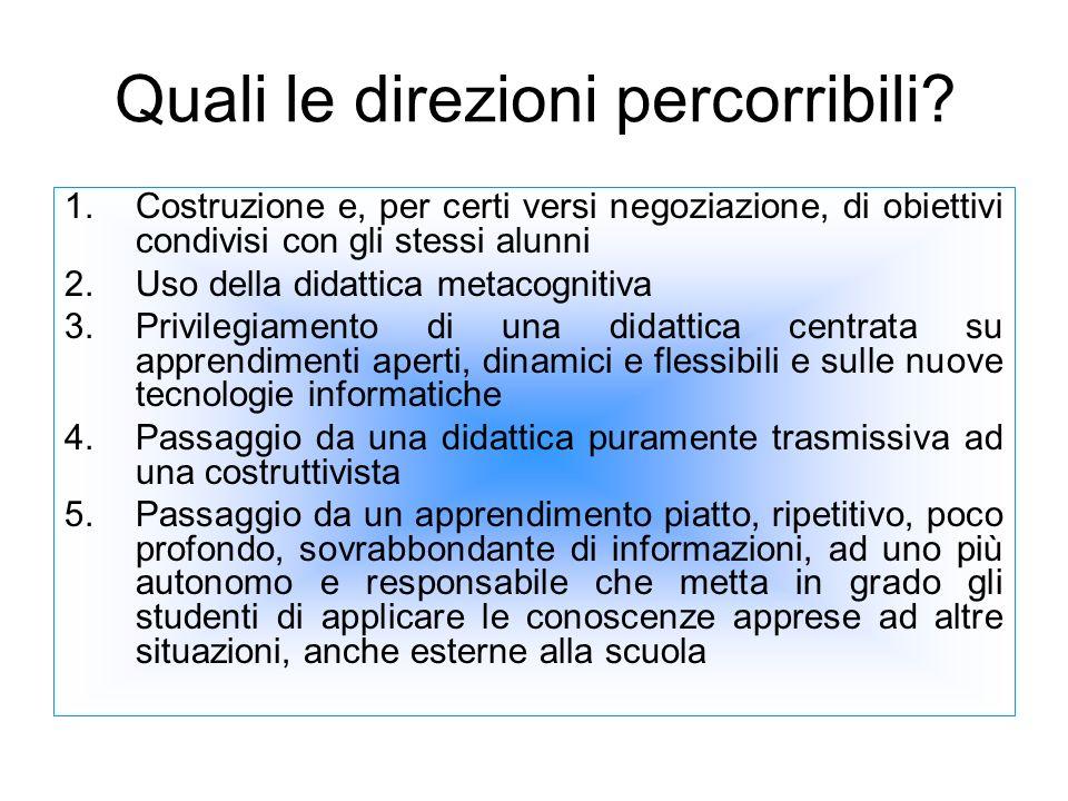 Quali le direzioni percorribili? 1.Costruzione e, per certi versi negoziazione, di obiettivi condivisi con gli stessi alunni 2.Uso della didattica met