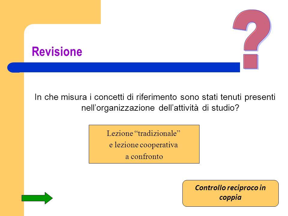 Revisione In che misura i concetti di riferimento sono stati tenuti presenti nellorganizzazione dellattività di studio? Lezione tradizionale e lezione