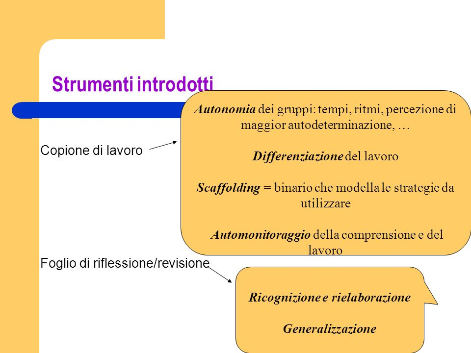 Strumenti introdotti Copione di lavoro Foglio di riflessione/revisione Autonomia dei gruppi: tempi, ritmi, percezione di maggior autodeterminazione, …