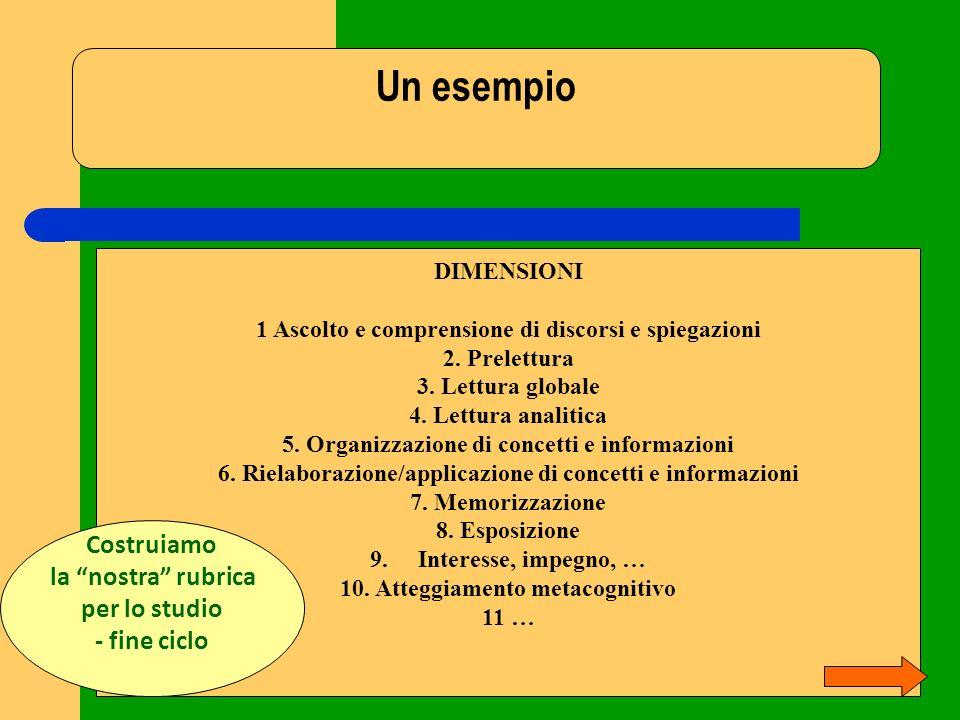 Un esempio DIMENSIONI 1 Ascolto e comprensione di discorsi e spiegazioni 2. Prelettura 3. Lettura globale 4. Lettura analitica 5. Organizzazione di co