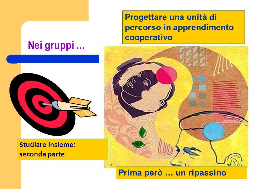 Nei gruppi … Progettare una unità di percorso in apprendimento cooperativo Prima però … un ripassino Studiare insieme: seconda parte