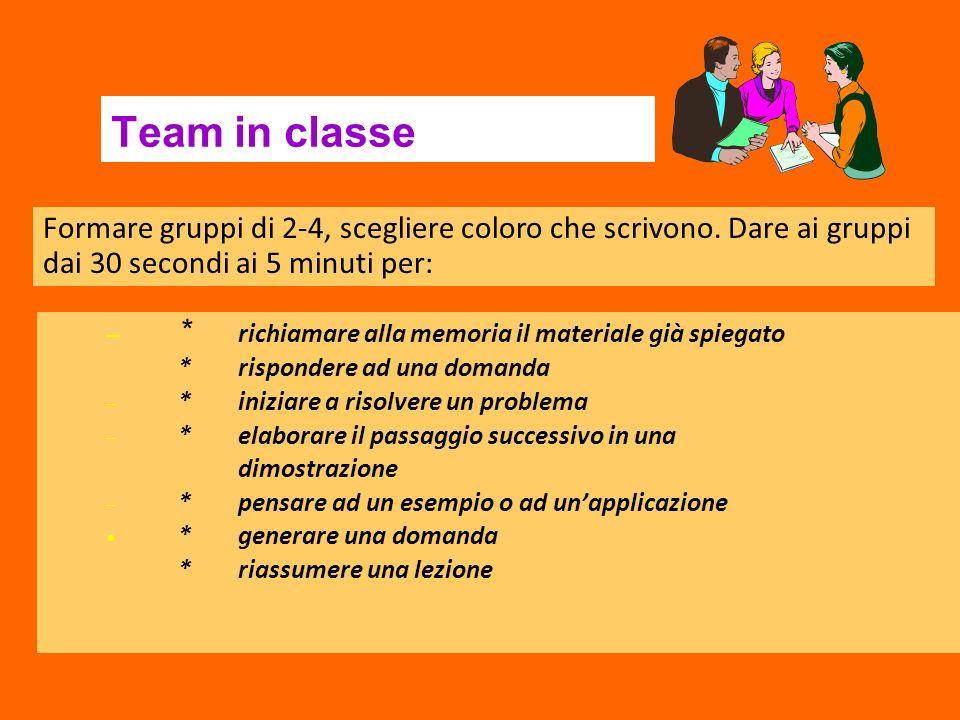 Team in classe – * richiamare alla memoria il materiale già spiegato * rispondere ad una domanda – * iniziare a risolvere un problema – * elaborare il