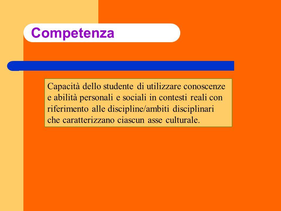 Competenza Capacità dello studente di utilizzare conoscenze e abilità personali e sociali in contesti reali con riferimento alle discipline/ambiti dis