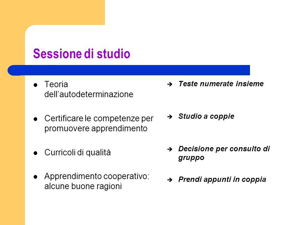 Sessione di studio Teoria dellautodeterminazione Certificare le competenze per promuovere apprendimento Curricoli di qualità Apprendimento cooperativo