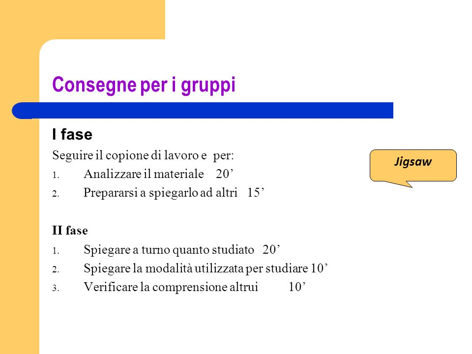 Consegne per i gruppi I fase Seguire il copione di lavoro e per: 1. Analizzare il materiale 20 2. Prepararsi a spiegarlo ad altri 15 II fase 1. Spiega