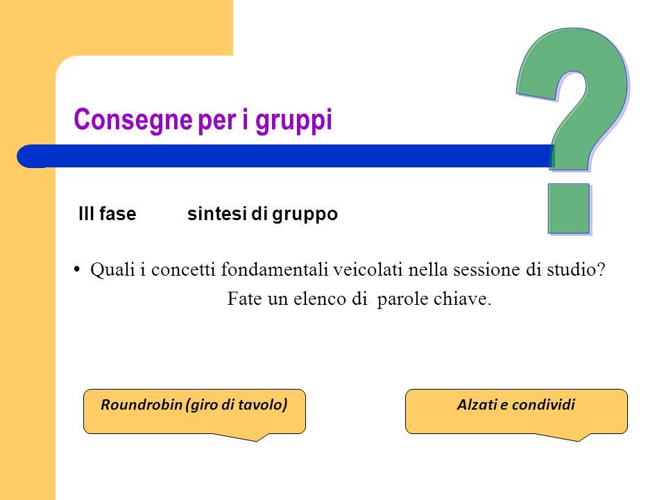 Consegne per i gruppi III fase sintesi di gruppo Quali i concetti fondamentali veicolati nella sessione di studio? Fate un elenco di parole chiave. Ro