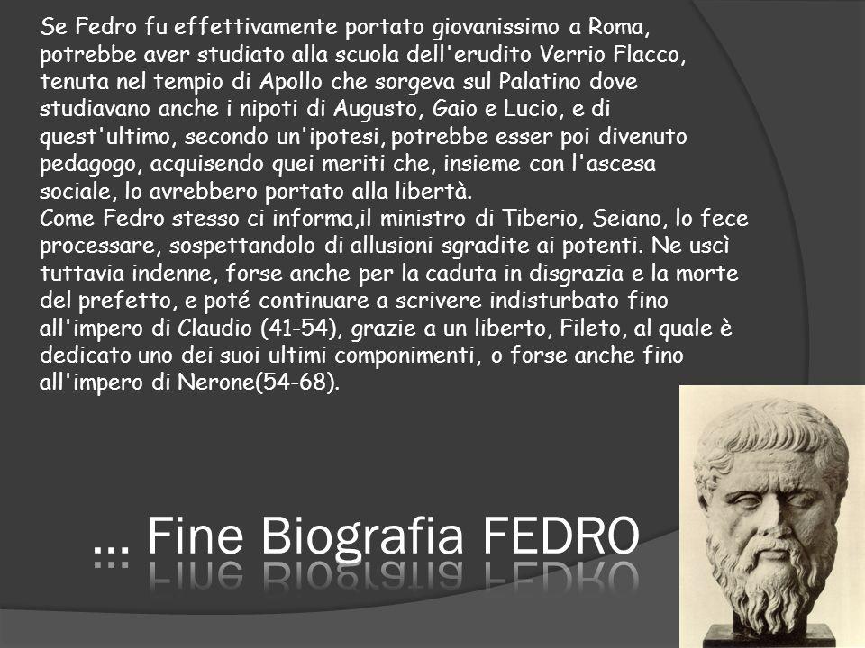 Se Fedro fu effettivamente portato giovanissimo a Roma, potrebbe aver studiato alla scuola dell'erudito Verrio Flacco, tenuta nel tempio di Apollo che