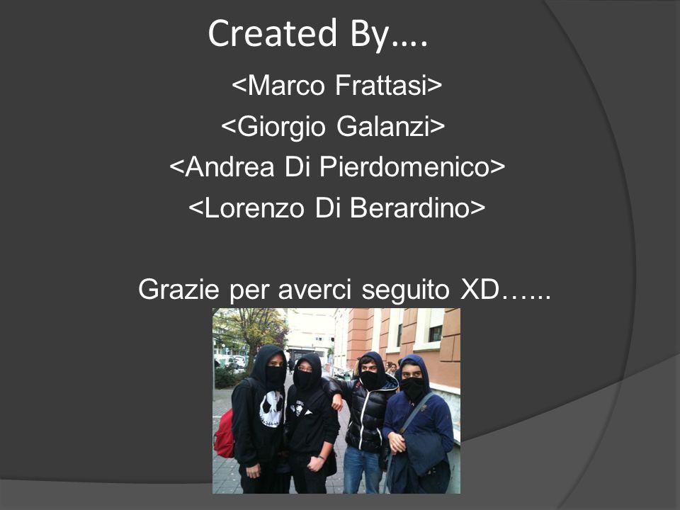 Created By…. Grazie per averci seguito XD…...