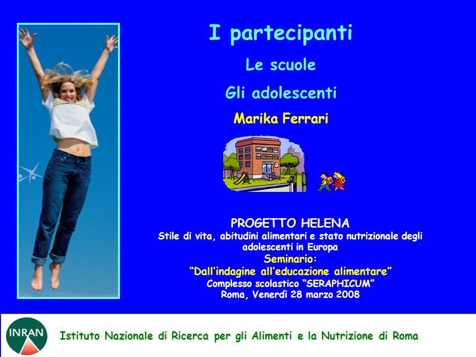 Istituto Nazionale di Ricerca per gli Alimenti e la Nutrizione di Roma I partecipanti Le scuole Gli adolescenti Marika Ferrari PROGETTO HELENA Stile d