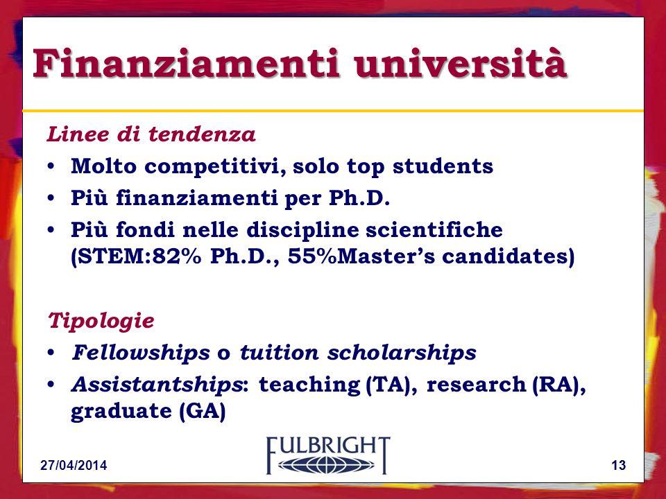 13 Finanziamenti università Linee di tendenza Molto competitivi, solo top students Più finanziamenti per Ph.D.