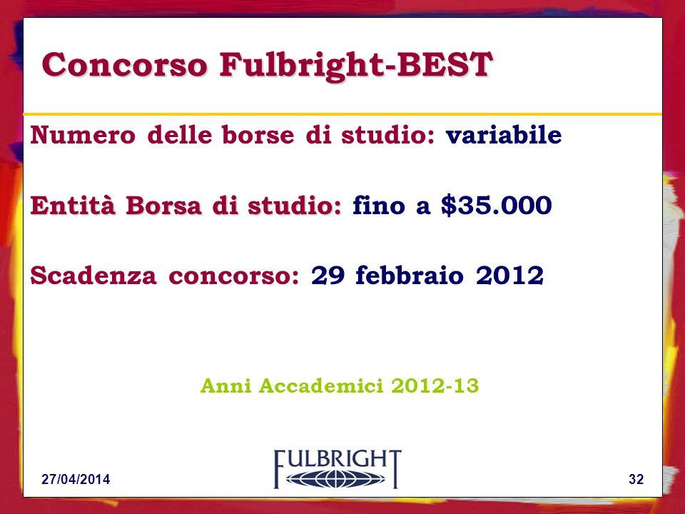 Concorso Fulbright-BEST Numero delle borse di studio: variabile Entità Borsa di studio: Entità Borsa di studio: fino a $35.000 Scadenza concorso: 29 febbraio 2012 Anni Accademici 2012-13 3227/04/2014