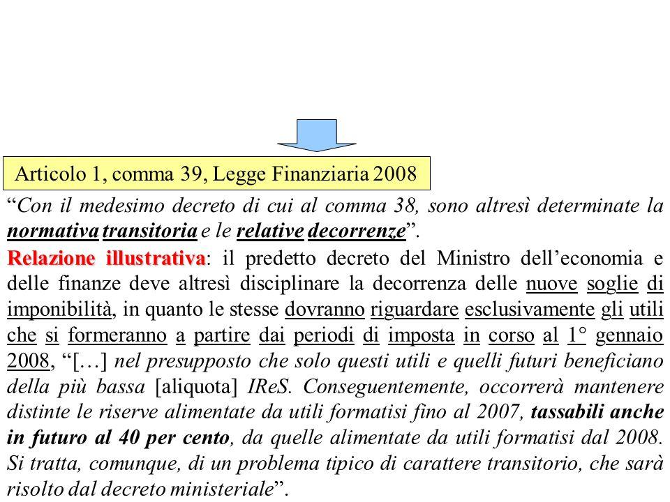 Decreto Legislativo n.38 del 2005 Articolo 6 - Distribuzione di utili e riserve - Il comma 4 dellarticolo 6 stabilisce che: Le riserve di cui ai commi 1, lettera b), e 2 sono indisponibili anche ai fini dell imputazione a capitale e degli utilizzi previsti dagli articoli 2350, terzo comma (dividendi ad azioni aventi diritti patrimoniali commisurati ai risultati), 2357, primo comma (acquisto azioni proprie), 2358, terzo comma (acquisito di azioni da parte di dipendenti), 2359-bis, primo comma (acquisto azioni della controllante), 2432 (partecipazioni agli utili degli amministratori), 2478-bis, quarto comma (distribuzione utili), del Codice civile.