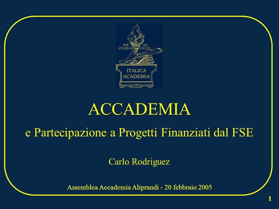 1 ACCADEMIA e Partecipazione a Progetti Finanziati dal FSE Assemblea Accademia Aliprandi - 20 febbraio 2005 Carlo Rodriguez