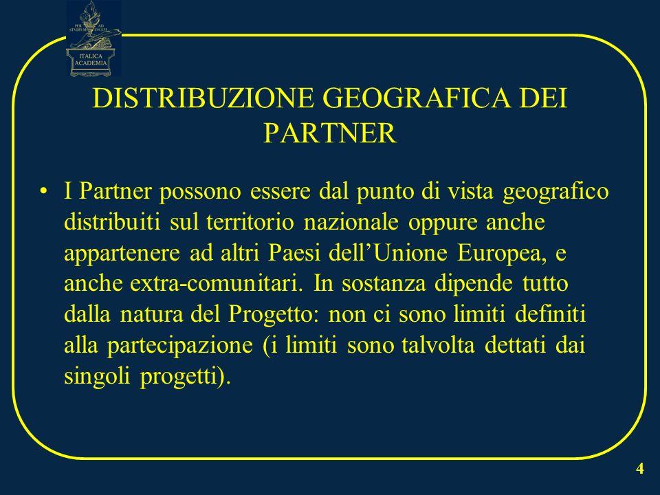 4 DISTRIBUZIONE GEOGRAFICA DEI PARTNER I Partner possono essere dal punto di vista geografico distribuiti sul territorio nazionale oppure anche appartenere ad altri Paesi dellUnione Europea, e anche extra-comunitari.