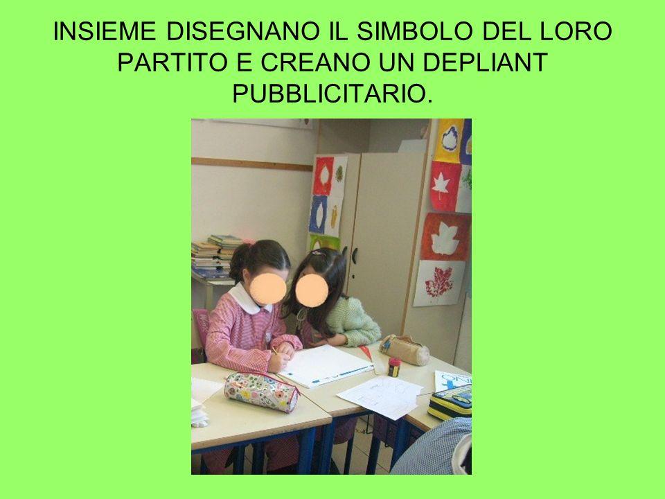 INSIEME DISEGNANO IL SIMBOLO DEL LORO PARTITO E CREANO UN DEPLIANT PUBBLICITARIO.